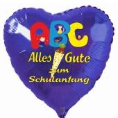 Herzluftballon in Blau: Alles Gute zum Schulanfang, ABC