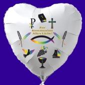 Zur Kommunion - Alles Liebe, weißer Herzluftballon aus Folie, religiöse Symbole, mit Ballongas Helium