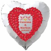 Luftballon zur Hochzeit, Herzballon aus Folie inklusive Helium mit den Namen von Braut und Bräutigam und Datum des Hochzeitstages, weiß mit Herz aus roten Rosenblättern