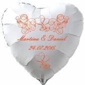 Luftballon zur Hochzeit, Herzballon aus Folie inklusive Helium mit den Namen von Braut und Bräutigam und Datum des Hochzeitstages, weiß mit roten Ornamenten