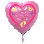 Herzluftballon Rosa aus Folie mit Helium zu Geburt und Taufe, Baby Party: Hurra! Eine kleine Prinzessin!