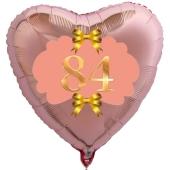 Herzluftballon aus Folie, Rosegold, zum 84. Geburtstag, Rosa-Gold