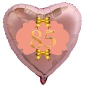 Herzluftballon aus Folie, Rosegold, zum 85. Geburtstag, Rosa-Gold