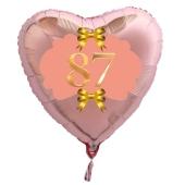 Herzluftballon aus Folie, Rosegold, zum 87. Geburtstag, Rosa-Gold
