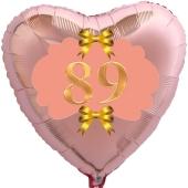 Herzluftballon aus Folie, Rosegold, zum 89. Geburtstag, Rosa-Gold