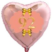Herzluftballon aus Folie, Rosegold, zum 92. Geburtstag, Rosa-Gold