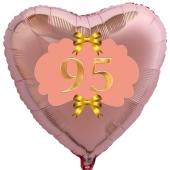 Herzluftballon aus Folie, Rosegold, zum 95. Geburtstag, Rosa-Gold