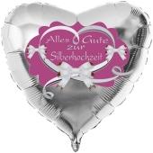 Alles Gute zur Silberhochzeit, Herzluftballon aus Folie in Silber, Flieder