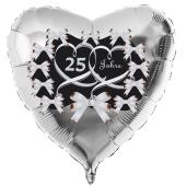 zur Silbernen Hochzeit, Herzluftballon aus Folie in Silber 25 Jahre, schwarz mit Schleifen