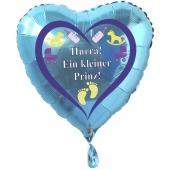 Herzluftballon Türkis aus Folie mit Helium zu Geburt und Taufe, Baby Party: Hurra! Ein kleiner Prinz!