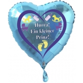 Herzluftballon Türkis aus Folie ohne Helium zu Geburt und Taufe, Baby Party: Hurra! Ein kleiner Prinz!