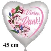 Vielen Dank. Herzluftballon aus Folie, satin-weiß-flowers, 45 cm
