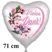 Vielen Dank. Herzluftballon aus Folie, satin-weiss, 71 cm