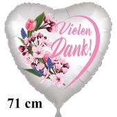 Vielen Dank. Herzluftballon aus Folie, satin-weiß-flowers, 71 cm