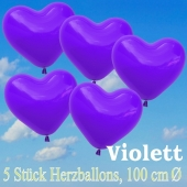 Große Herzluftballons, 100 cm, Violett, 5 Stück