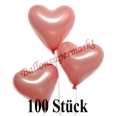 100 Stück Herzluftballons Rosegold Metallic, 26 cm