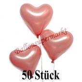 50 Stück Herzluftballons Rosegold Metallic, 26 cm