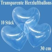 Luftballons in Herzform, transparent, 30 cm, 10 Stück
