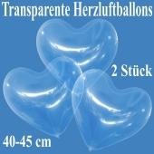 Luftballons in Herzform, transparent, 40-45 cm, 2 Stück