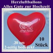 Herzluftballons in Rot, Alles Gute zur Hochzeit, 30 cm, 2-seitig bedruckt, 10 Stück