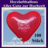 Herzluftballons in Rot, Alles Gute zur Hochzeit, 30 cm, 2-seitig bedruckt, 100 Stück