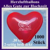 Herzluftballons in Rot, Alles Gute zur Hochzeit, 30 cm, 2-seitig bedruckt, 1000 Stück