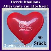 Herzluftballons in Rot, Alles Gute zur Hochzeit, 30 cm, 2-seitig bedruckt, 50 Stück
