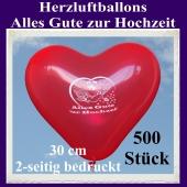 Herzluftballons in Rot, Alles Gute zur Hochzeit, 30 cm, 2-seitig bedruckt, 500 Stück