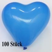 Herzluftballons, 8-12 cm, blau, 100 Stück