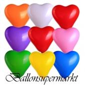 Herzluftballons, 8-12 cm, bunt gemischt, 10 Stück