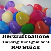Herzluftballons bunt gemischt, 100 Stück, günstige, preiswerte und billige Luftballons in Herzform, Herzballons aus Latex