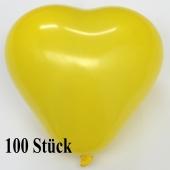 Herzluftballons, 8-12 cm, gelb, 100 Stück