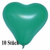 Herzluftballons 12-14 cm, Grün, 10 Stück