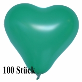 Herzluftballons 12-14 cm, Grün, 100 Stück