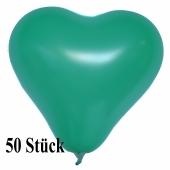 Herzluftballons 12-14 cm, Grün, 50 Stück