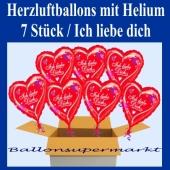 ch liebe dich, 7 Stück Herzluftballons aus Folie mit Herzen