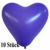 Herzluftballons 12-14 cm, Lila, 10 Stück