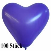 Herzluftballons 12-14 cm, Lila, 100 Stück