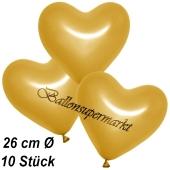 Metallic Herzluftballons, 26 cm, Gold, 10 Stück