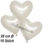 Metallic Herzluftballons, 26 cm, Perlweiß, 10 Stück