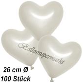 Metallic Herzluftballons, 26 cm, Perlweiß, 100 Stück