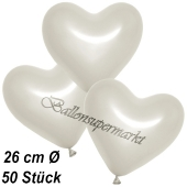 Metallic Herzluftballons, 26 cm, Perlweiß, 50 Stück