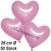 Metallic Herzluftballons, 26 cm, Rosa, 50 Stück