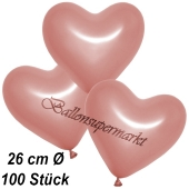 Metallic Herzluftballons, 26 cm, Rosegold, 100 Stück