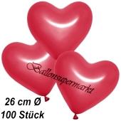 Metallic Herzluftballons, 26 cm, Rot, 100 Stück