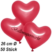 Metallic Herzluftballons, 26 cm, Rot, 50 Stück