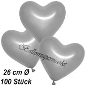 Metallic Herzluftballons, 26 cm, Silber, 100 Stück