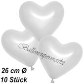 Metallic Herzluftballons, 26 cm, Weiß, 10 Stück