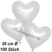 Metallic Herzluftballons, 26 cm, Weiß, 100 Stück