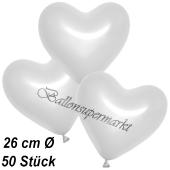 Metallic Herzluftballons, 26 cm, Weiß, 50 Stück